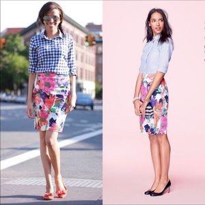 J.Crew No. 2 Pencil Skirt in Garden Floral Sz 12